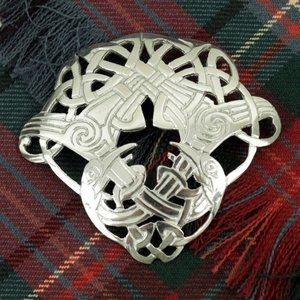 New Scottish Celtic Bird Pewter Brooch Pin Scarf